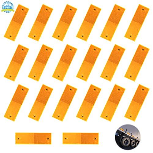 Reflectores Adhesivos para Camiones 20 Piezas Reflectante para Remolques Naranjas, Catadioptrico Adhesivo Rectangular, Universales Catadioptrico Reflectores para Coche Bicicleta Caravana RV(5 * 15cm)