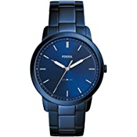 Fossil Minimalist Stainless Steel Bracelet Quartz Men's Watch (Blue)