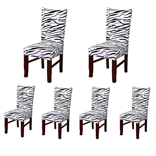 6 xSoft Spandex Fit Stretch Short Dining Room Chair Covers with Printed Pattern, Banquet Chair Seat Protector Slipcover for Hone Party Hotel Wedding Ceremony