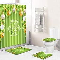 メリークリスマスカラフルな特別なシャワーカーテンセット、12のフックバスマットのトイレの蓋の蓋の滑り止めマットの敷物浴室の装飾、清潔に掃除が簡単180cm green-45*75cm