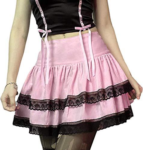 Sexy Damen-Rock mit Spitze, Patchwork, Mini-Faltenrock, hohe Taille, Gothic, Y2K, Punk, dunkle Akademie, ästhetische E-Mädchen-Kleidung
