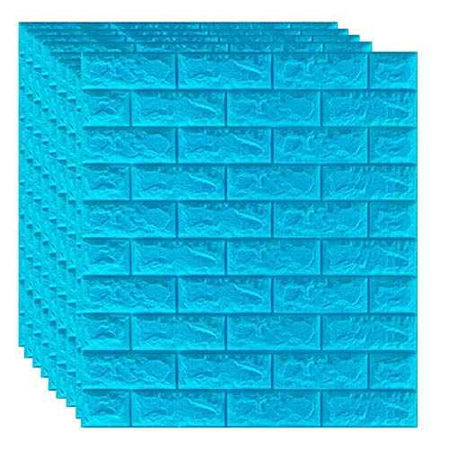 SQINAA Paneles de Pared 3D de ladrillo, Papel Tapiz despegable y Adhesivo para decoración de Pared de Fondo de Sala de Estar, Dormitorio,Azul