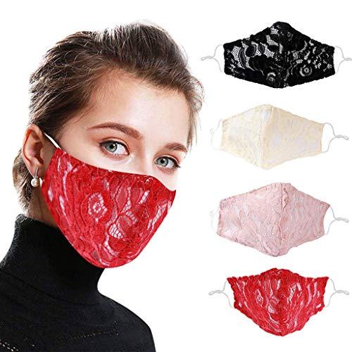 ZuzongYr 4 Stück Damen Spitze Schutzmaske Atmungsaktive Baumwolle Stoffmaske Wiederverwendbare Mundbedeckung Gesichtsschal Mundzahnabdeckung Half Face Halstuch Mundschutz