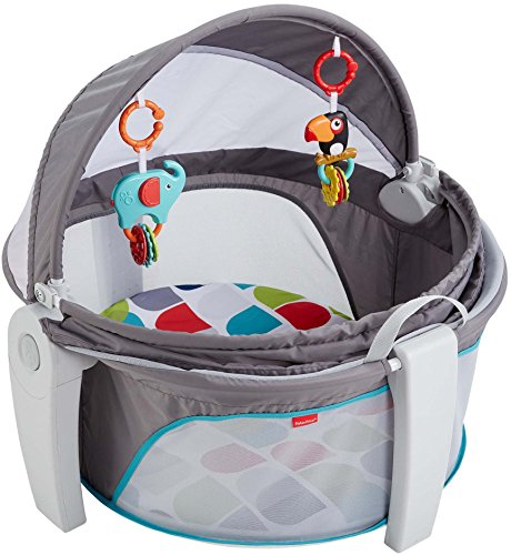 fisher price on the go baby dome, portable crib, travel crib, baby toys, baby teethers, baby clip on toys
