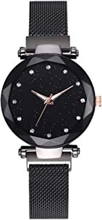 Women Magnet Mesh Buckle Starry Sky Watch Geometric Surface Quartz Ladies Watches