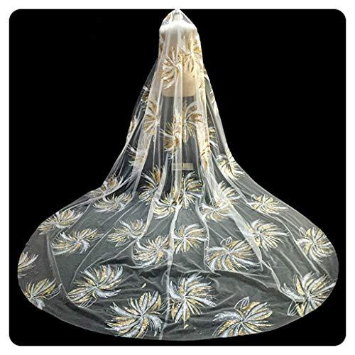 AMINSHAP Lange bruidsjurk, bling avondjurk bruidsjurk met glitterkam kathedrale sluier, luxe bruid hoofdtooi bruiloft haaraccessoires accessoires, 3 x 3,5 m