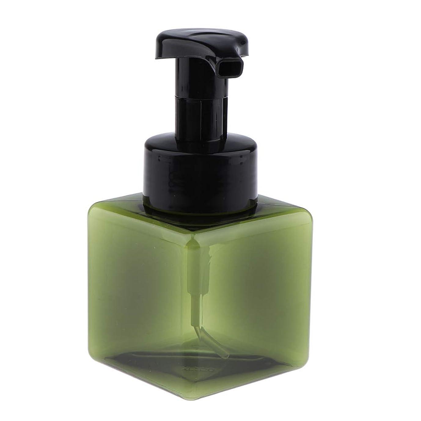 CUTICATE 浴室の台所ホテル用 詰め替え式 泡立つ石鹸ディスペンサーポンプびん 正方形 250ml - 濃い緑色