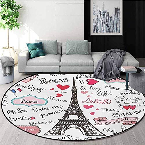 Buy Bargain RUGSMAT Eiffel Tower Computer Chair Floor Mat,Paris Symbols Lettering Heart Shapes Flag ...