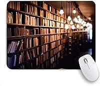 KAPANOUマウスパッド 図書館の本棚の本コレクションアンティークの本屋 ゲーミング オフィス おしゃれ 防水 耐久性が良い 滑り止めゴム底 ゲーミングなど適用 マウス 用ノートブックコンピュータマウスマット