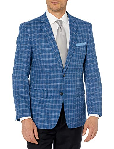 Perry Ellis Mens Sport Coat, Bright Blue Plaid, 42 Long