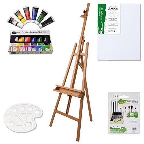 Artina Set di pittura per artisti con 24 unità: cavalletto da studio Barcelona + 1 tela 6 acrilici 15 pennelli 1 tavolozza