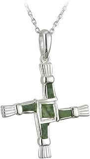 Connemara Marble Brigid Cross Necklace Sterling Silver Irish Made