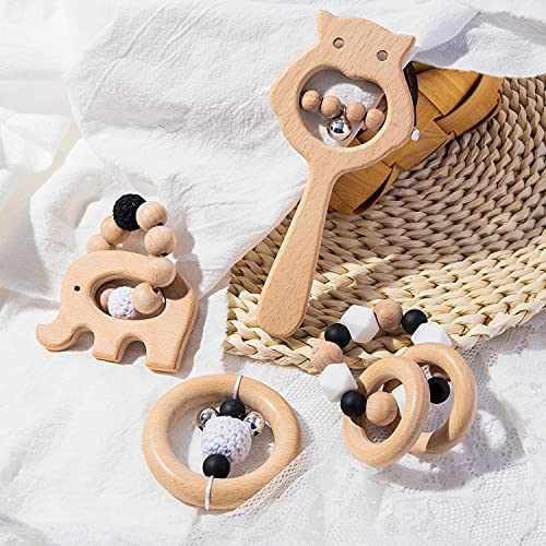 R HORSE 4Pcs Wooden Teether Rather Toys Babies Wooden Molar Rattles Infant Teething Ring Chew Bead Toy Montessori Styled Sensory Toy Set Hand Grasping Rattles for Baby Birthday Shower Gift Keepsake