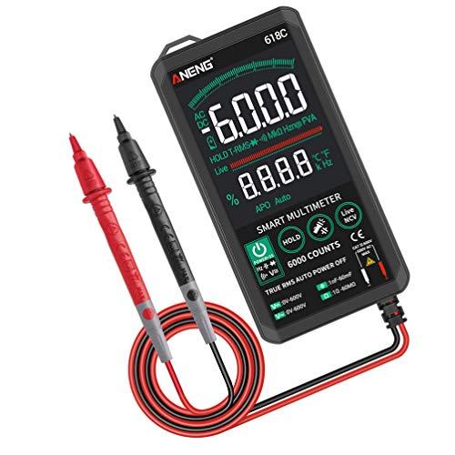 TEHAUX Multímetro Digital Voltímetro de CA CC Voltaje Comprobador de Corriente Retroiluminada Pantalla Ohm Voltímetro Amperios Medidor Eléctrico Ohmetro para Uso Doméstico Automático