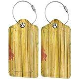 WINCAN Etiquetas para Equipaje,Flor de Loto y Fondo de bambú en Tallos Tropical Plant Oriental Art Print,2 Piezas Etiquetas de Equipaje de Viaje Etiquetas de Identificación de la Maleta