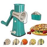 Flexsto Grattugia per Formaggio Rotante, Multifunzione Affettatrice per Verdure con 5 Lame a Tamburo,per Pizza, Formaggio grattugiato, insalate e Patatine. (Verde)