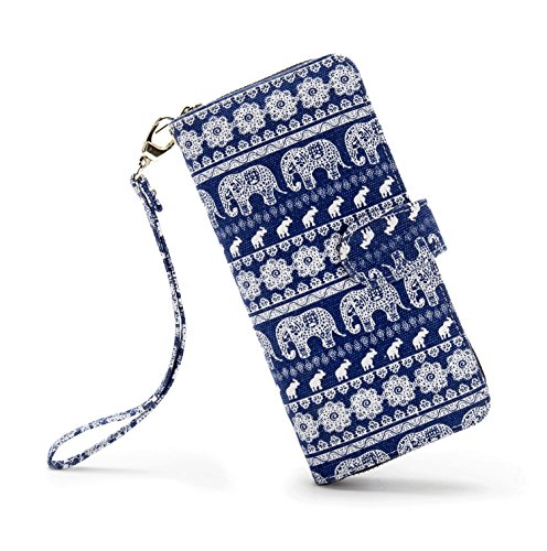LOVESHE Women wallet RFID Blocking Purse Credit Card Clutch Zip Around Phone Clutch Large Travel Purse Wristlet Bohemian SmallElephant Louisiana