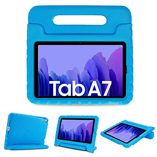 ProCase Kids Case for Samsung Galaxy 2020 Tab A7 10.4' (Model SM-T500/ T505/ T507), Shock Proof Convertible Handle Stand Cover Light Weight Kids Friendly Super Protective Case -Blue
