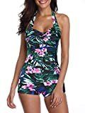 Century Star Women's Retro Halter Top Vintage Inspired Boy-Leg One Piece Ruched Monokinis Swimsuit Bathing Suits Green Print 10-12
