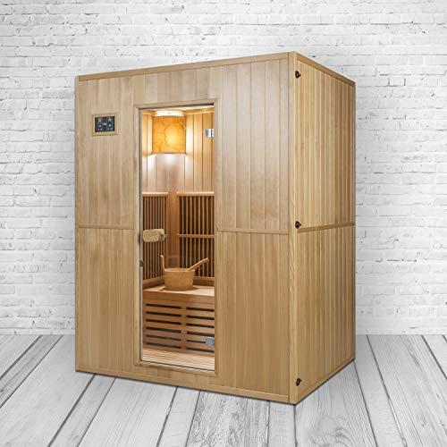 XXL Luxus LED Infrarotsauna +Infrarotkabine Kombi SET für 4 Personen Sauna inkl. Saunaofen inkl. Spedition