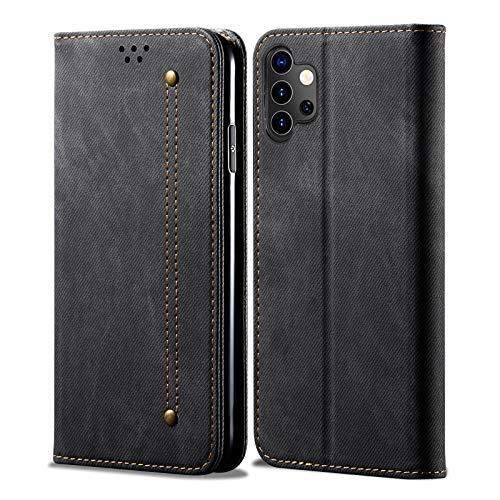 Eabhulie Funda Galaxy A32 5G, Carcasa de Cuero PU Retro Mezclilla Cartera Tapa con Soporte Plegable para Samsung Galaxy A32 5G Negro