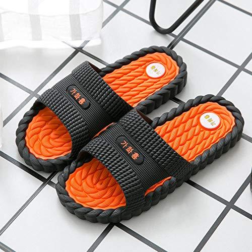 Cxypeng Baño Chanclas Antideslizante,Zapatillas de Masaje silenciosas de Cuatro Estaciones, Sandalias de baño Antideslizantes desodorantes-39-40_Naranja E,Sandalias de Ducha de Hombre