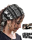 HIUMI 2 Pack Women's Headband Boho Printed Knotted Hairband for Yoga Running Sports - Tie Adjustable Headwrap Cute Fashion Hair Bands