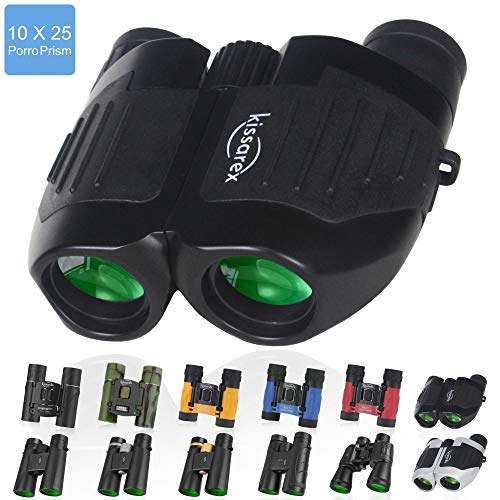Kissarex 10x25 Compact Travel Binoculars: Mini Pocket Small Size LightweightAdults Best Outdoor Theatre Tactical Hiking Kids Concert Sports Camping Low-light Night Vision Waterproof Tiny EasyFolding