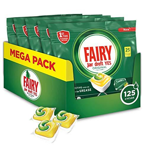 Fairy Original Limón - Pastillas para Lavavajillas Todo en 1, 125 Cápsulas (5 x 25)