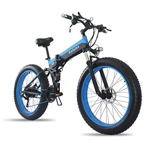 """26 Zoll Elektrofahrrad mit 800 W 48 V 15Ah Lithiumbatterie Faltbares Snow Elektrofahrrad, 4"""" Fettreifen Klapprad E-Bike für Erwachsene, Herren Damen."""
