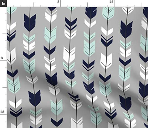 Spoonflower Fabric - Arrows, Feather, Navy Mint White, Woodland, Boho, Nursery, Baby Boy, Printed on Petal Signature Cotton Fabric by The Yard - Sewing Quilting Apparel Crafts Decor