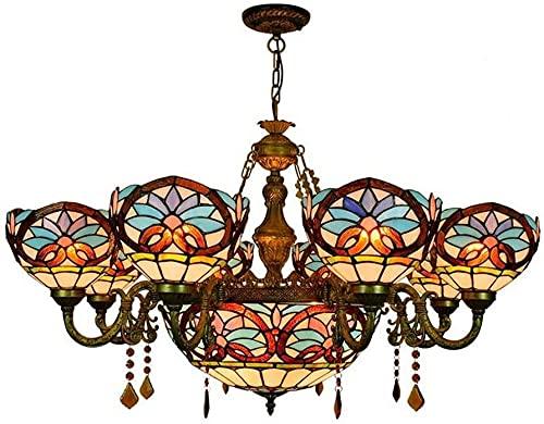 HKAFD 6 Cabezas / 8 Cabezas Tiffany Style Chandelier de Cristal Manchado de Cristal Arte Colgante Luces Retro Creatividad Sala de Estar Comedor Comedor Villa Decoración Lámpara de Techo de Hierro E27