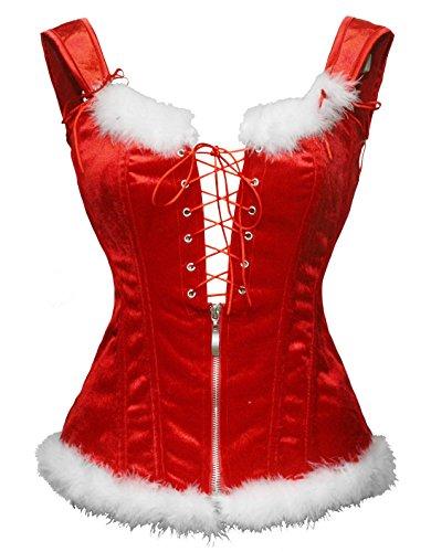 Bslingerie® Damenmode Dessous Corsage PU Leder-Optik Korsagen Bustier Corsage (S, Weihnachten Rot)