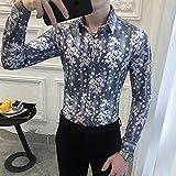 Camisa de Cuadros Business Gray Shirt Men FashionSlim Fit Men Casual Shirts Long Sleeve Digital Print Blouse Men Clothing 3XL Asian3XL72-77KG Gray