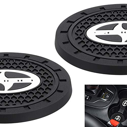 """AOOOOP Car Interior Accessories for Scion Cup Holder Insert Coaster - Silicone Anti Slip Cup Mat for Toyota Yaris Corolla Hatchback 86 Scion iA iM FR-S (Set of 2, 2.75"""" Diameter)"""