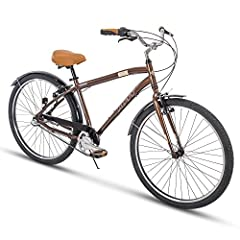 """The ideal inseam is 29 – 32 inches - Recommended height 5'8"""" – 6'2""""; Perfect Fit Frame's design, a Huffy exclusive, makes this the most comfortable bike you'll ever ride Incredibly smooth twist shifting comes from an all-SHIMANO drivetrain - a 3-spee..."""