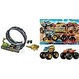 Hot Wheels Monster Trucks Pista de Coches (Mattel GKY00) y Monster Truck Duos de Demolición, Modelos Aleatorios, Paquete de 2 (FYJ64)