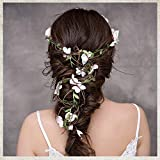 Felice Arts Women Flower Headband Wreath Flower Crown Floral Fall Adjustable Bridal Flower Garland Hair Wreath Halo for Wedding Vacation Maternity Photography Fairy Costume Party Gifts