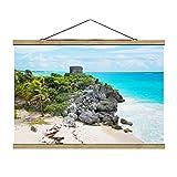 Bilderwelten Imagen de Tela - Caribbean Coast Tulum Ruins, 66.5cm x 100cm, Roble