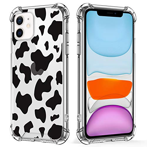 KANGHAR iPhone 11 Case Cow Printer Black Cute Pattern Shockproof Clear Four Corners Cushion Durable Hard PC + Soft TPU Bumper Anti-Scratch Full Body Protection Crystal Cover-6.1inch