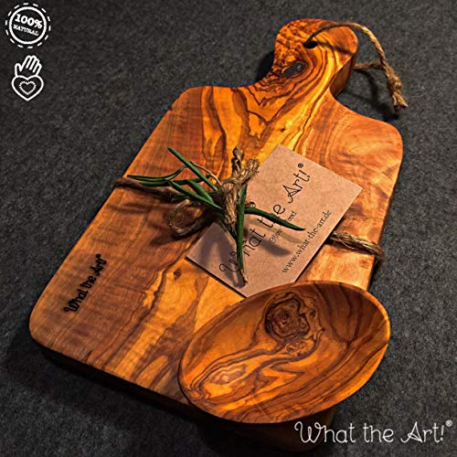 What the Art!® Olive Wood «Le Provençal» Gr. L | Olivenholz Schneidebrett inkl. Dip-Schälchen + Geschenk | ca. 30 x 15 x 2 cm | Käsebrett - Servierbrett - Brotzeitbrett - Vesperbrett