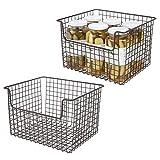 mDesign 2er-Set Allzweckkorb aus Metall – Flexibler Aufbewahrungskorb für die Küche, Vorratskammer etc. – universeller Drahtkorb mit Griffen – bronzefarben