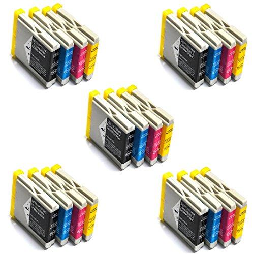 Prestige Cartridge LC1000 LC970 20er Pack Druckerpatronen für Brother DCP 130C 150C 330C 350C 540CN 750CW Fax 1360C 2480C MFC 235C 240CN 260C 345CW 660CN 885CW 3360C 5460CN schwarz cyan magenta gelb
