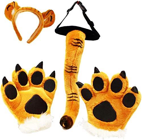 NC001 Halloween Party Costume Peluche Dinosauro Tigre Leopardo Prestazioni Cosplay Party 4 Pezzi Fascia per Capelli: 20 cm Coda: 45 cm Zampe : 23 cm