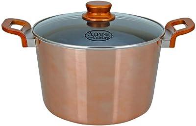 Aramco Nonstick Aluminum Copper Metallic With Bakelite Handle Dutch Oven With Glass Lid, 8 QT, 8 Quart
