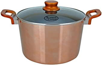 Aramco AI-MC11-4 Nonstick Aluminum Copper Metallic With Bakelite Handle Dutch Oven With Glass Lid, 8 QT, 8 Quart