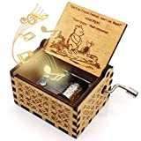 ukebobo Wooden Music Box - The Pooh Saying Music Box, Gift for Friend, Merry Christmas Music Box, New Year's Gifts - 1 Set