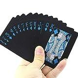 Newin Star PVC Naipes Juegos de Cartas Poker Poker Poker Set Impermeable Pure Color Negro Conjuntos de Herramientas de Magia clásico Juego de Mesa, 54pcs adecuados
