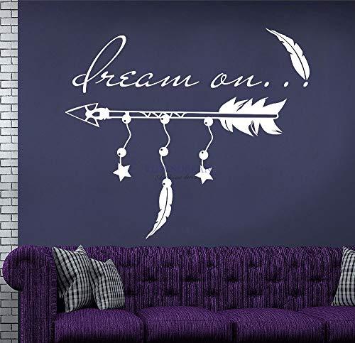HNXDP Plume Mur Art Autocollant Flèche Citation Rêve sur Décor Mural Vinyle Wall Sticker Decal Décoration de La Maison Rêve Chambre Murale D531 42x36 cm