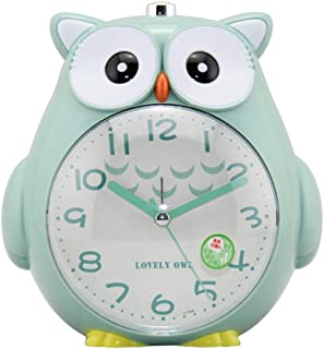 Kids Alarm Clock, Owl Decor Clock with Soft Night Light and Snooze,Silent Carbon Battery Operated Dual Alarm Clock for Boys, Girls, Teens, Students Bedroom